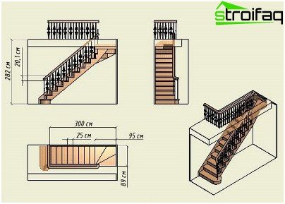 Wooden staircase, drawing of a structure with one march