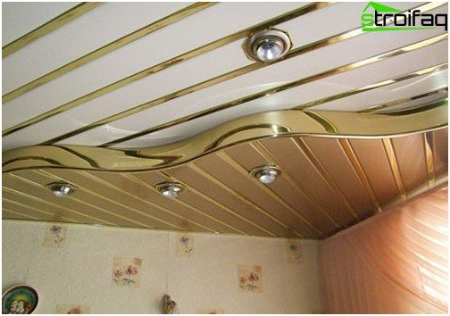 Slatted ceilings for the bathroom: photo №1