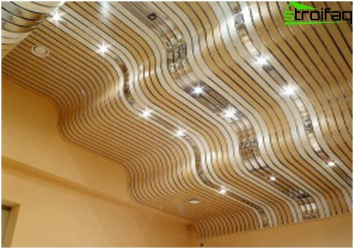 Slatted ceilings for the bathroom: photo №4