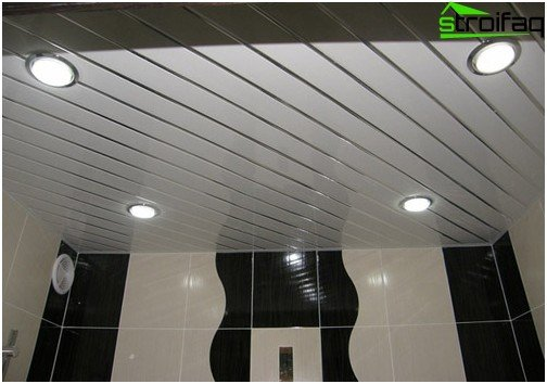 Slatted ceiling with spotlights