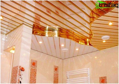 Slatted ceilings for the bathroom: photo №3