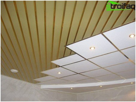 A combination of a rack ceiling and a classic suspended ceiling