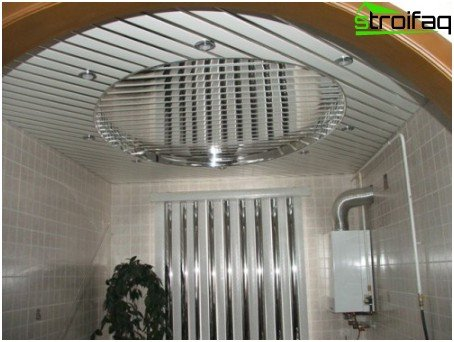 Slatted ceilings in the kitchen