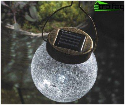 Luz colgante con energía solar