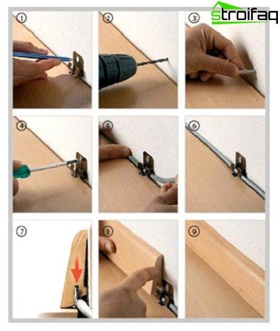 Step-by-step photos of mounting skirting boards