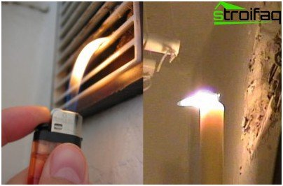 По-леките пламъци се наведеха към вентилационния отвор: вентилацията работеше перфектно. Пламъкът на свещта потвърждава, че вентилацията в апартамента не работи.