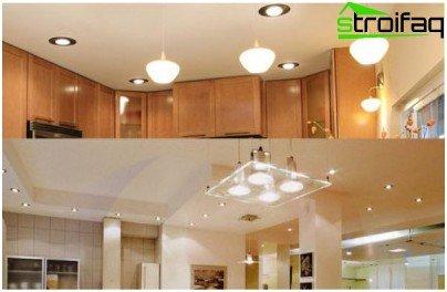 إضاءة علوية رئيسية في المطبخ