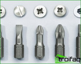 Bits for a screwdriver and features of their choice