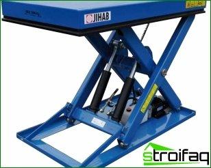Typer af hydrauliske borde og deres funktioner