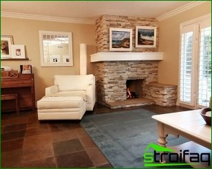 Living room design with fireplace