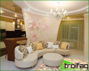 Soluciones interiores: paredes brillantes y muebles ligeros.