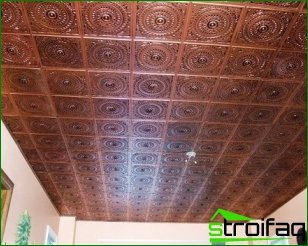 The choice of material for the ceiling in the room