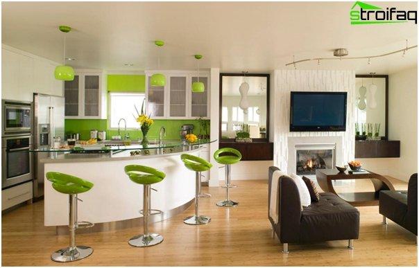 مطبخ مشترك مع غرفة معيشة - 01