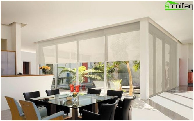 Photo of roller blinds in the kitchen