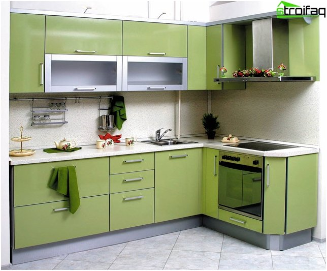 Hjørne køkken grøn