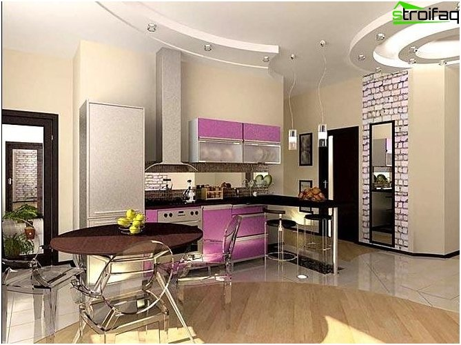 Hjørne køkken loft design
