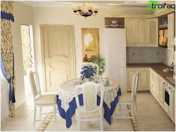 Taustakuva keittiöön tyyliin provence