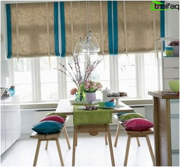 Photo curtains in the Art Nouveau style kitchen