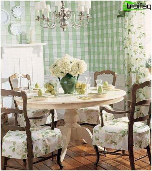 Kuva maalaistyylisen keittiön taustakuvasta