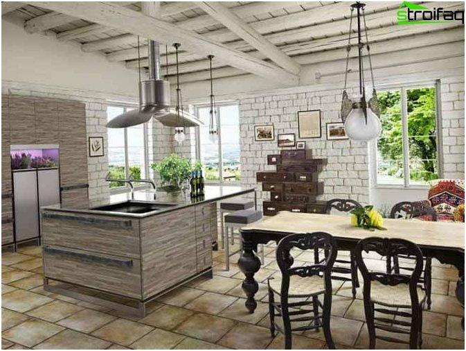 สไตล์โปรวองซ์ในการออกแบบห้องครัว