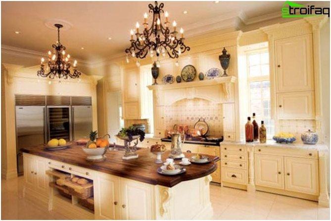 การออกแบบห้องครัว: วอลล์เปเปอร์