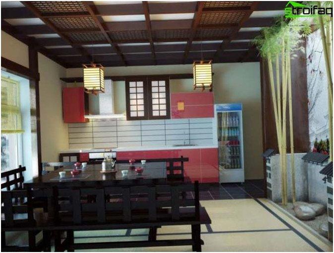 Japanilaisen keittiön taustakuva