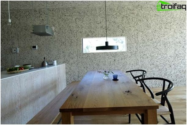 Wallpaper in the kitchen in the style of minimalism