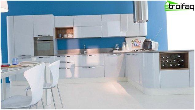 Sininen taustakuva keittiössä