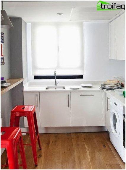 Cocina blanca de diseño de 9 metros cuadrados