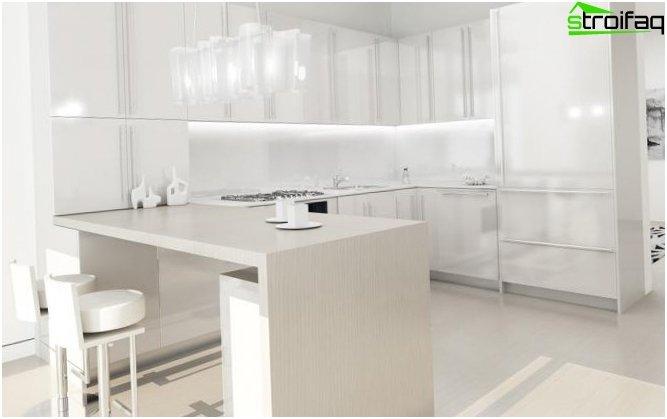 Valkoinen taustakuva keittiöön