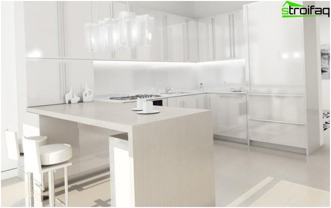 White wallpaper for the kitchen
