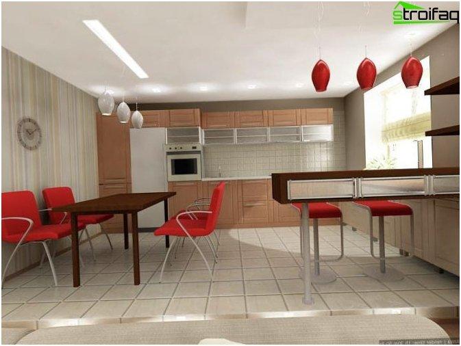 Taustakuva keittiössä-olohuoneessa