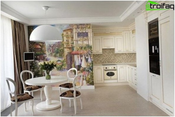 Wall mural in the kitchen