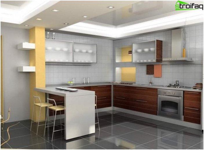 Le sfumature del design della cucina ad angolo
