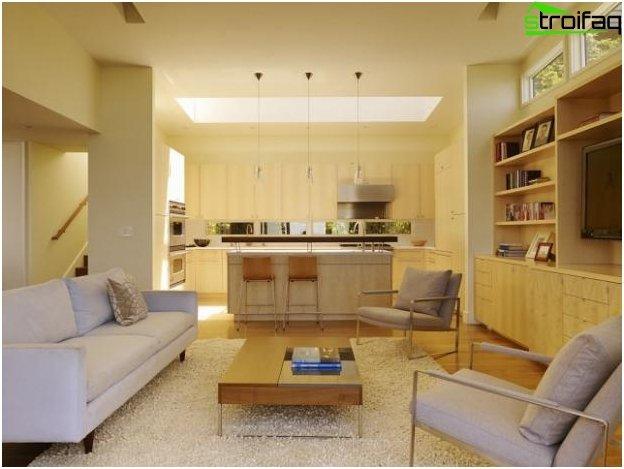 Foto del diseño de la cocina-sala de estar