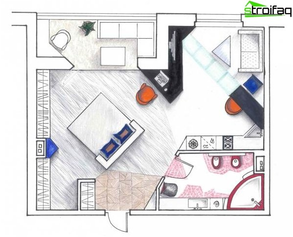Diseño de cocina-sala de estar - 7