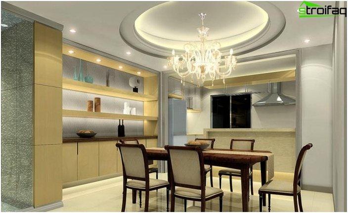 Design del soffitto in una piccola cucina 1