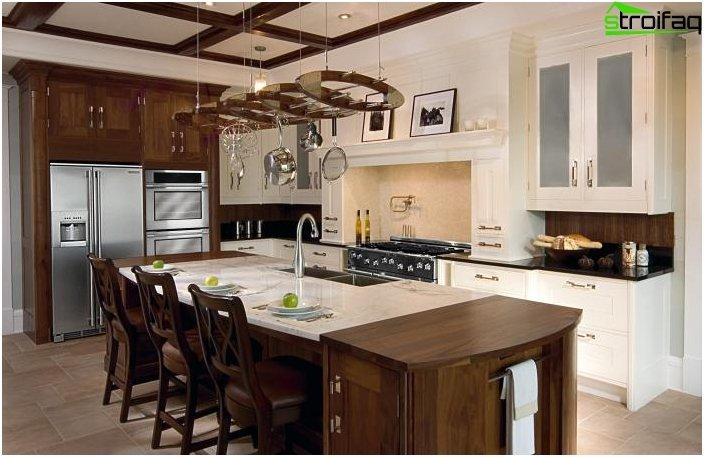 Design del soffitto in una piccola cucina 2