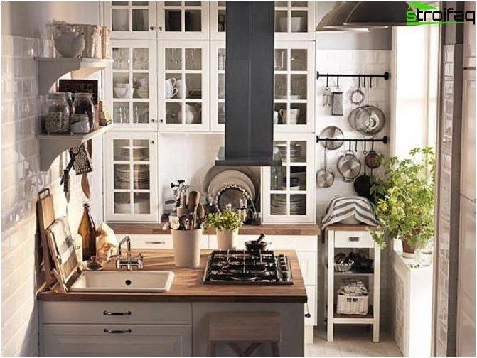 تخطيط المطبخ 10 متر مربع مع شرفة