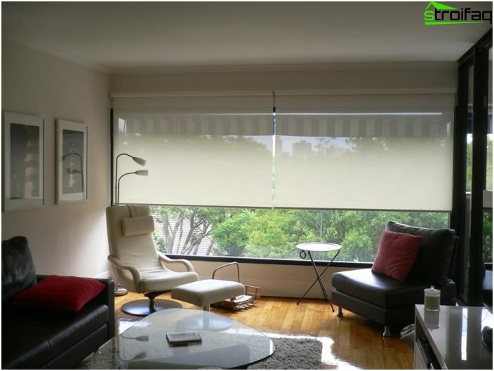 Roman and roller blinds in the living room 4
