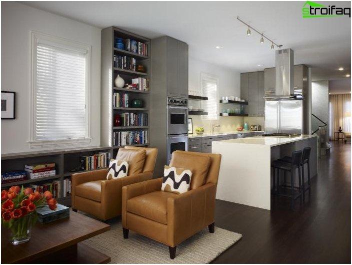 Diseño de cocina-sala de estar - foto