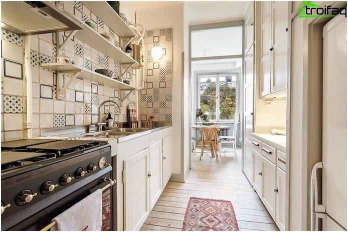 تخطيط المطبخ 10 متر مربع مع شرفة - الصورة 5