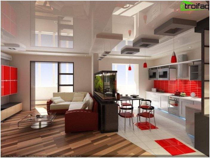Diseño de la cocina-sala de estar - foto 7