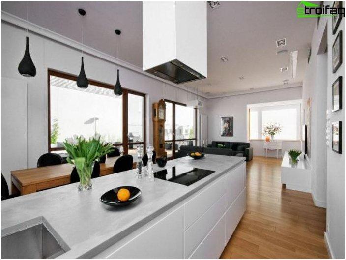 Diseño de la cocina-sala de estar - foto 8