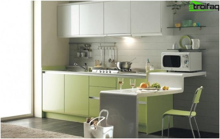 Kitchen design in green colors.