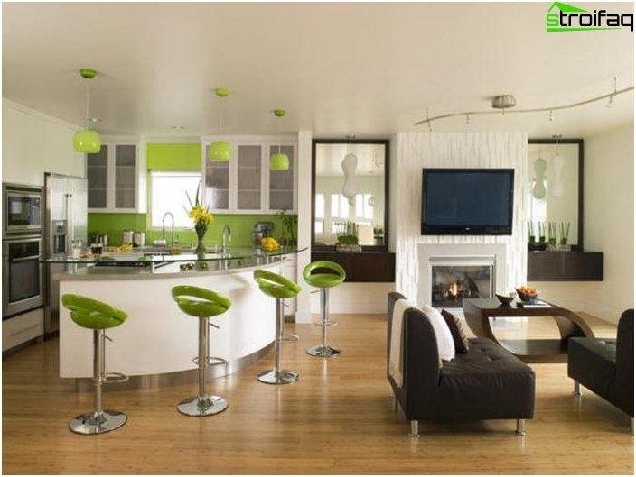 Diseño de la cocina-sala de estar - foto 10