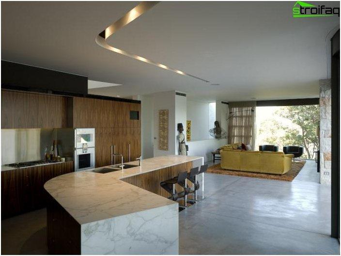 Дизайн на кухнята-хол - снимка 11