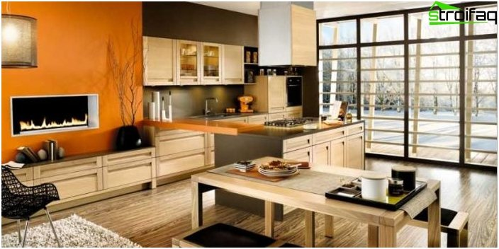 Дизайн на кухнята-хол - снимка 12