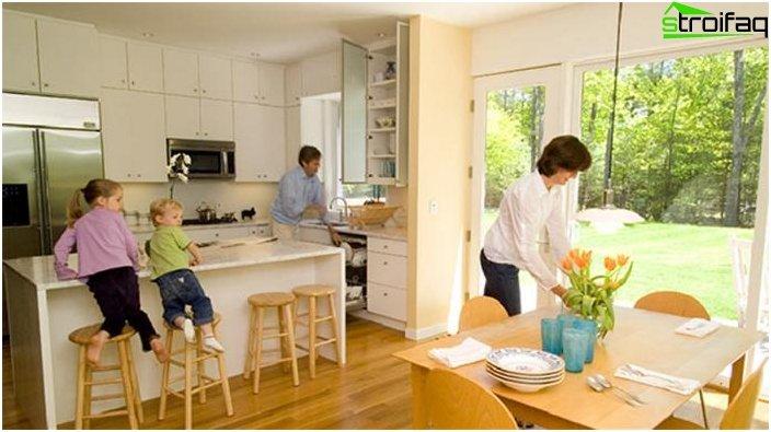 Дизайн на кухнята-хол - снимка 14