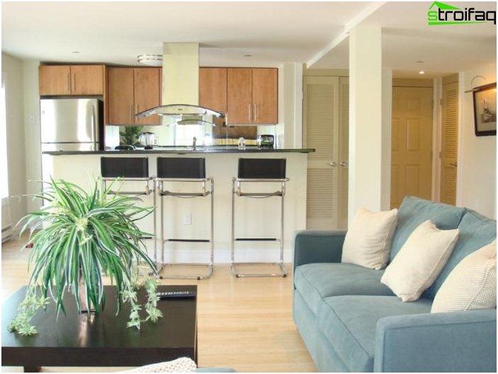 Diseño de la cocina-sala de estar - foto 17